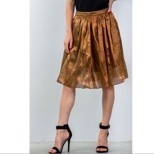 Bronze Pleated Midi Skirt